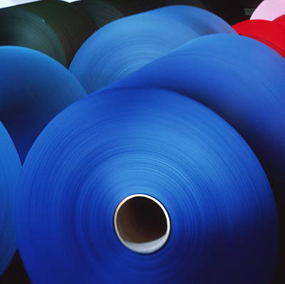 Rolls Of Coloured Paper At A Paper Mill Print by Colin Cuthbert