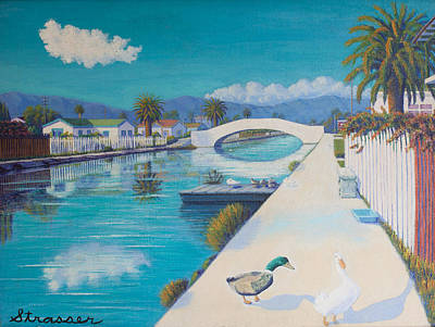 Romance On Retro Canal Print by Frank Strasser