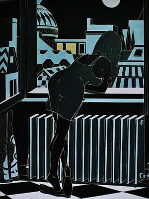 Roofs Of Antwerpen At Night Print by Varvara Stylidou