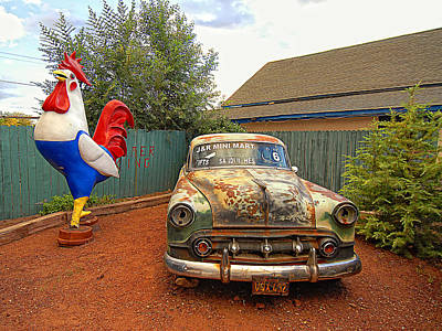 Rooster Digital Art - Rooster And The Car by Ron Regalado
