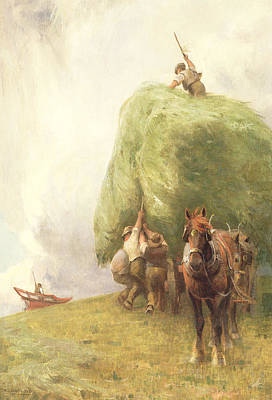 Roping Horse Painting - Roping The Wagon by Henry H Sands