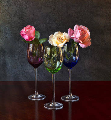 Glass Table Reflection Photograph - Rose Colored Glasses by Peter Chilelli