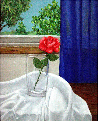 Roses Painting - Rose In A Glass by Amani Al Hajeri