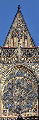 Rose Window - Exterior Of St Vitus Cathedral Prague Castle Print by Christine Till