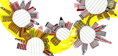 Building Exterior Digital Art - Rounded Cities by Catarina Bessell
