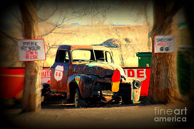 Route 66 Parking Lot Print by Susanne Van Hulst