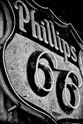 Route 66 Sign Black And White Print by Hideaki Sakurai