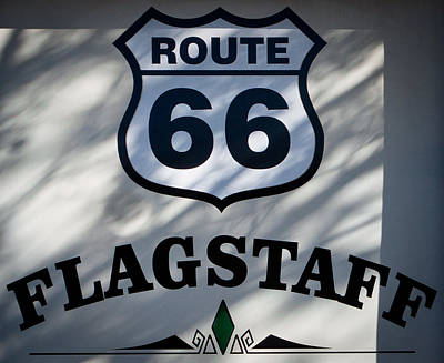 Will Rogers Photograph - Route 66 Sign In Flagstaff Arizona by David Patterson