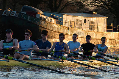 Rowers At Sunset Print by Andrew  Michael