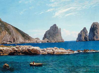 Deep Blue Painting - Rowing Off The Rocks by Albert Bierstadt