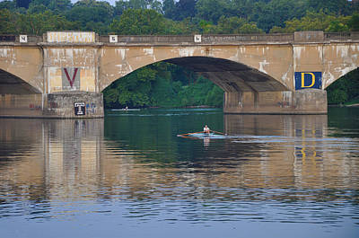 Rowing Under The Columbia Railroad Bridge In Philadelphia Print by Bill Cannon