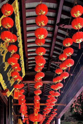 Temples Photograph - Rows Of Red Chinese Paper Lanterns - Shanghai China by Christine Till