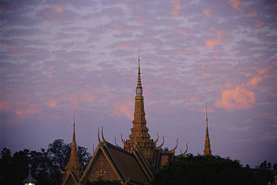 Royal Palace Rooftop At Dawn, Phnom Print by Steve Raymer