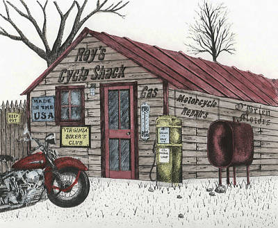 Roy's Cycle Shack Print by Mike OBrien