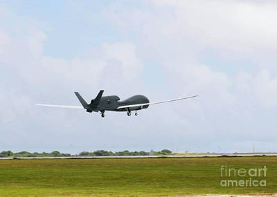 1st Base Photograph - Rq-4 Global Hawks First Flight by Photo Researchers