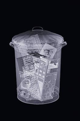 Rubbish Bin, Simulated X-ray Print by Mark Sykes