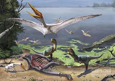 Rugops Primus Dinosaurs And Alanqa Print by Sergey Krasovskiy