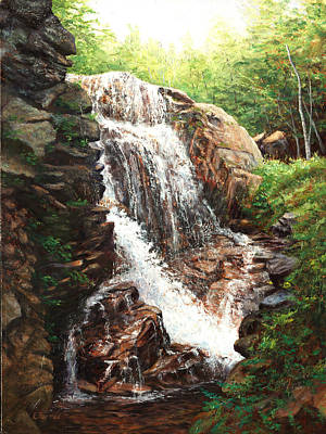 Franconia Notch Painting - Rush Hour The Flume In Nh by Elaine Farmer
