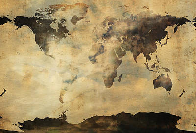 World Map Poster Photograph - Rusted Metal World Map by Stephen Walker