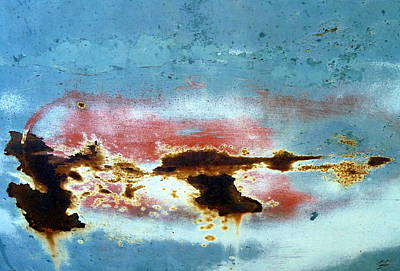 Patina Photograph - Rusted Out Horizontal Crack On Blue Surface by Carla Parris