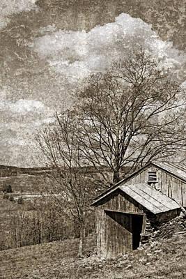 Rustic Hillside Barn Print by John Stephens