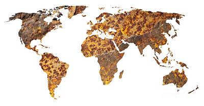 Contour Photograph - Rusty World Map by Tony Cordoza