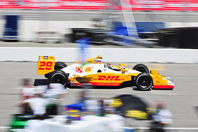 Ryan Hunter-reay Exiting Pit  Road Print by Jarvis Chau