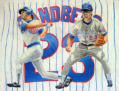 Chicago Baseball Drawing - Ryne Sandberg by Adam Barone