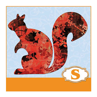 Education Painting - S Is For Squirrel by Elaine Plesser
