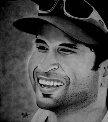 Cricket Drawing - Sachin Tendulkar by Kanika Chandolia