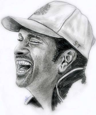 Cricket Drawing - Sachin Tendulkar by Mahith  Mohan