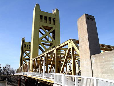Sacramento California Tower Bridge Crossing The Sacramento Delta River . 7d11553 Print by Wingsdomain Art and Photography