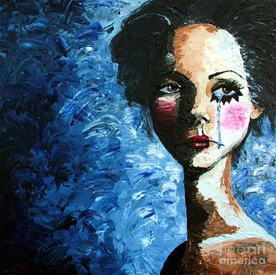 Sadness Painting - Sad Clown Girl by Cris Motta
