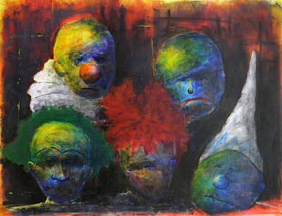 Unhappy Painting - Saddened Harlequins by Teddy Campagna