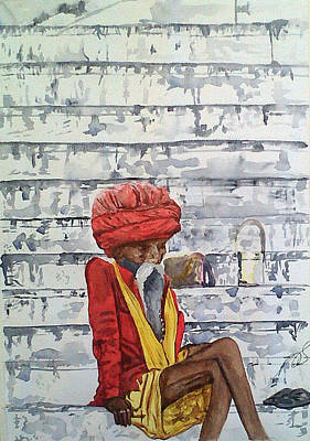 Painting - Saddhu On The Ghats I by Paula Steffensen