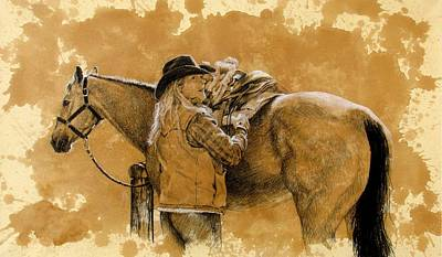 Ranching Drawing - Saddled Up by Debra Jones