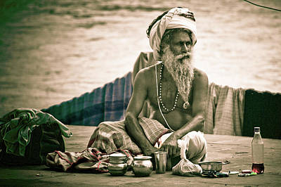 Sadhu At Ganges Print by John Battaglino