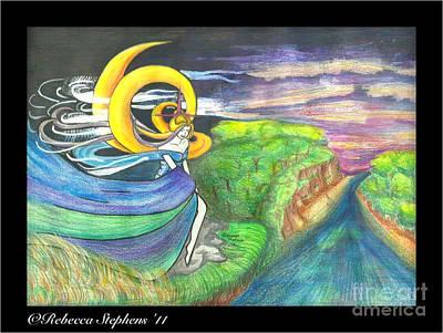 Sage Moon Print by Rebecca  Stephens