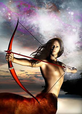 Archer Digital Art - Sagittarius by Julie L Hoddinott