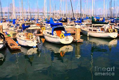 Bay Area Digital Art - Sail Boats At San Francisco's Pier 42 . Dark Version by Wingsdomain Art and Photography