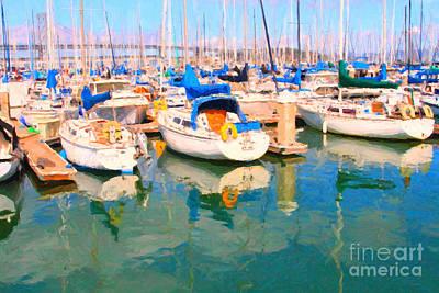 Bay Area Digital Art - Sail Boats At San Francisco's Pier 42 by Wingsdomain Art and Photography