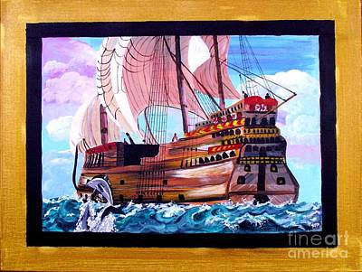 Gallion Painting - Sail On A Dream by Jayne Kerr