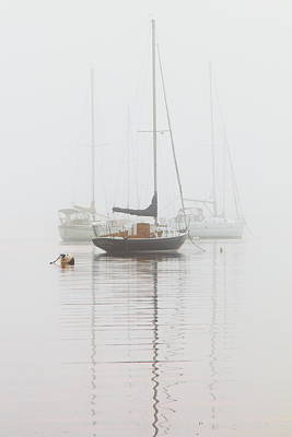 Sailboat Photograph - Sailboats In The Mist by Roupen  Baker