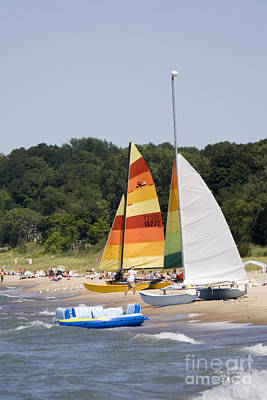 Harbor Photograph - Sailboats On The Beach by Christopher Purcell
