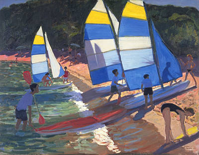 South Of France Painting - Sailboats South Of France by Andrew Macara