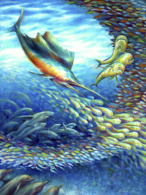 Sailfish Plunders Baitball II - Sharks And Dolphin Fish Print by Nancy Tilles