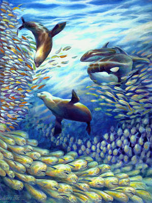 Shark Painting - Sailfish Plunders Baitball IIi - Dolphin Fish Seals And Whales by Nancy Tilles