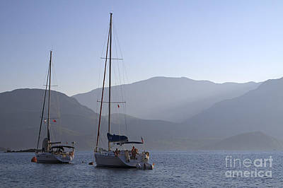Boat Photograph - Sailing Boats At Dawn In Karacaoren Bay by Louise Heusinkveld