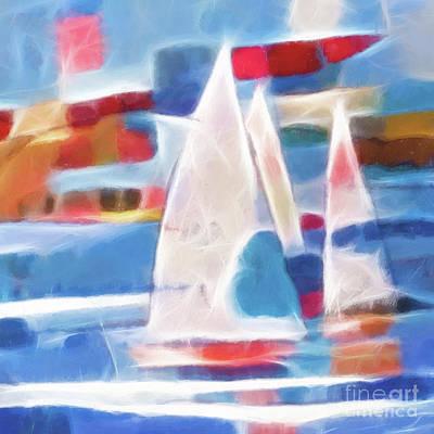Abstract Seascape Digital Art - Sailing Joy Digital by Lutz Baar