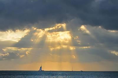 Sun Rays Digital Art - Sailing Off Key West Florida by Bill Cannon